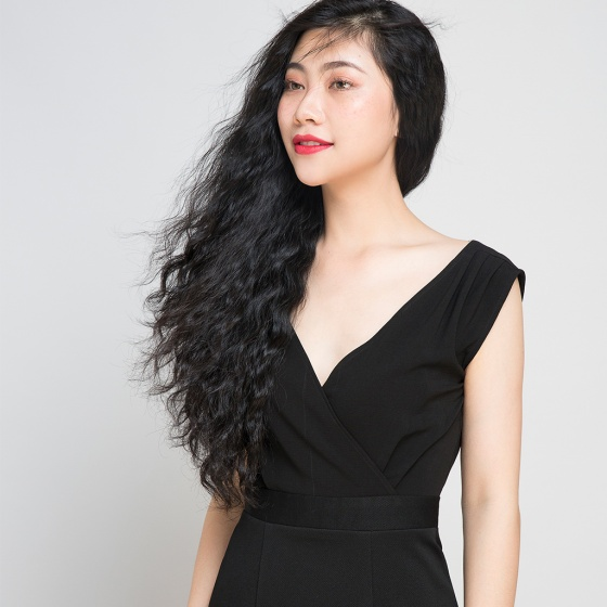 Đầm midi ôm phối ren Hity DRE014 (đen noir)