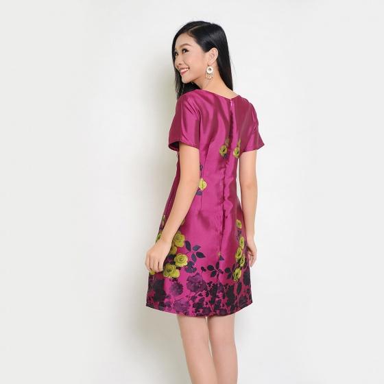 Đầm suông thời trang Eden in hoa cao cấp (Tím) - D251