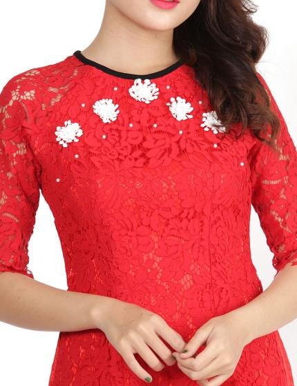 Set áo dài cách tân Amun ren đính hoa màu đỏ kèm chân váy trắng- SETAD68-DO