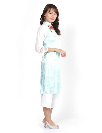 Set áo dài cách tân Amun gấm màu xanh ngọc kèm quần trắng- SETAD69-XANHNGOC