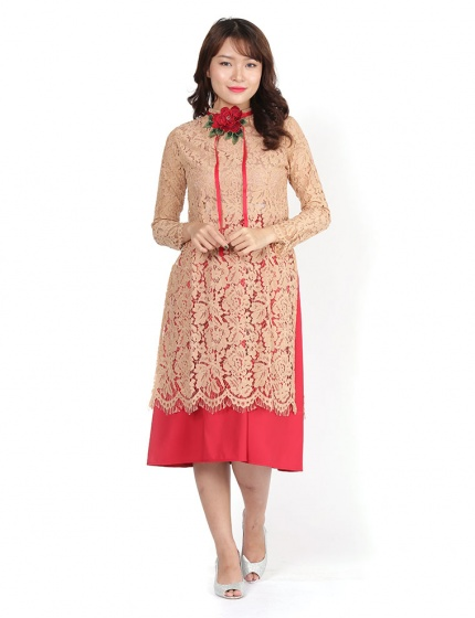 Sét áo dài cách tân Amun ren màu da kèm váy hồng- SETAD70-MAUDA
