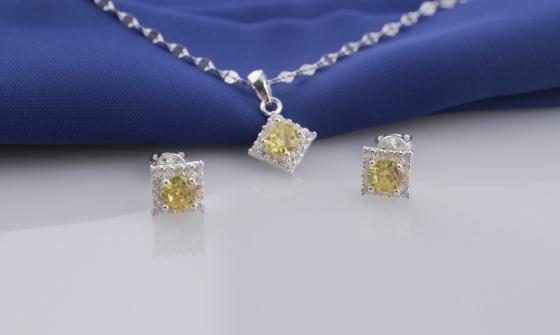 Set mặt kèm dây và hoa tai bạc đính đá Ross Opal sis47