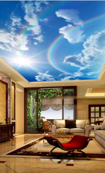 Tranh trần nhà 3D bầu trời 4 TN24 (Kích thước : 100x150cm)