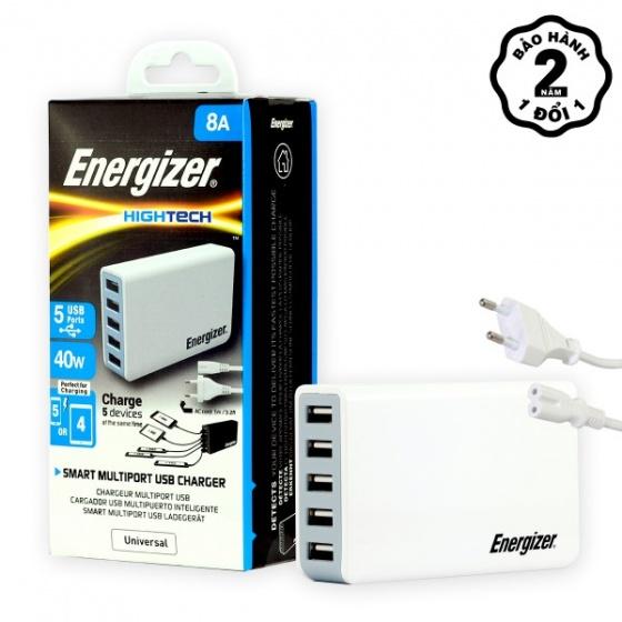 Sạc 5 cổng USB Energizer 8A 40W - USA5DEUHWH5 (White)