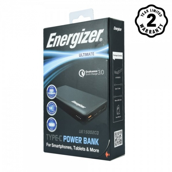 Pin sạc dự phòng Energizer 15,000mAh Quick Charge 3.0 - UE15002CQBK (Đen)