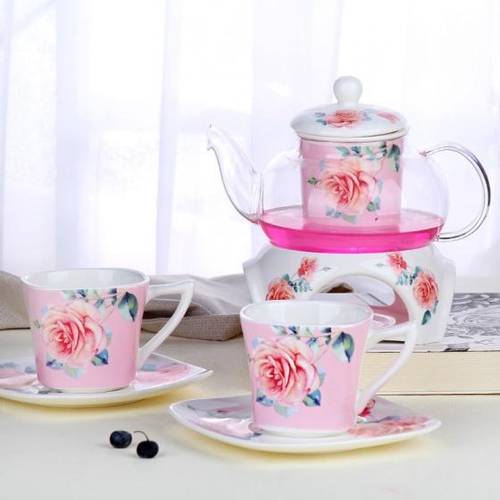 Bộ trà nến 2 chén hoa hồng