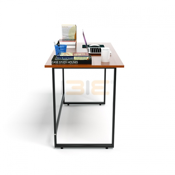 Bộ bàn Rec-F đen màu cánh gián gỗ cao su và ghế Eames chân gỗ đen