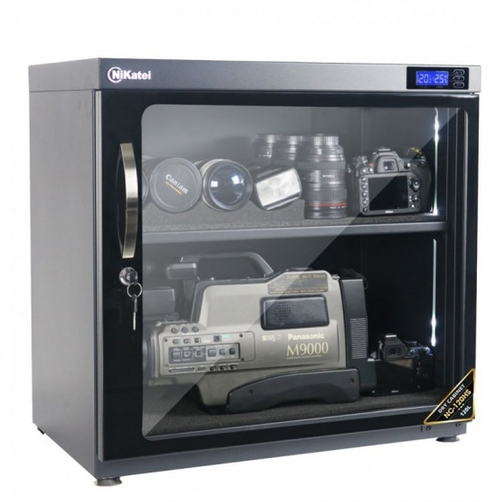 Tủ chống ẩm chuyên dụng Nikatei NC-120HS, viền nhôm mạ bạc (120 Lít)