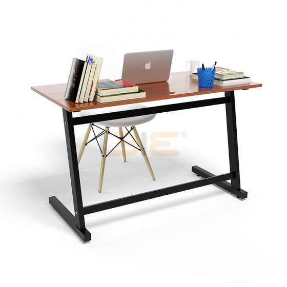 Bộ bàn Rec-Z đen màu cánh gián gỗ cao su và ghế Eames chân gỗ trắng