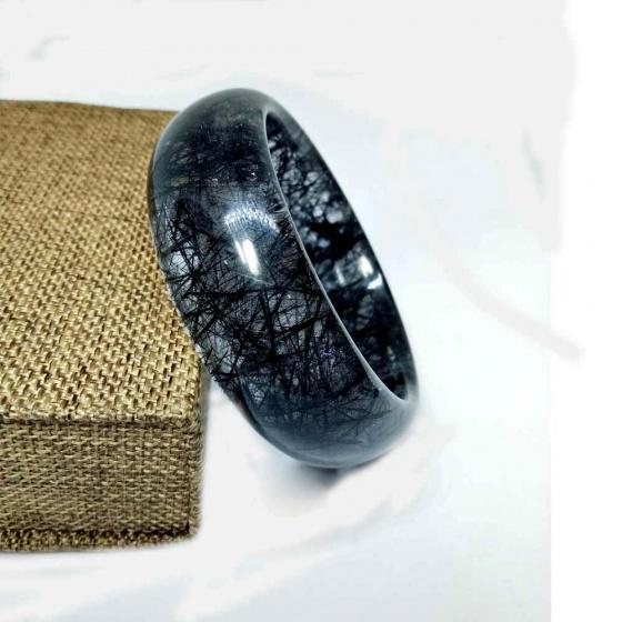 Vòng kiềng thạch tóc đen 59mm đặc biệt cao cấp chuẩn 6A(-) hadosa