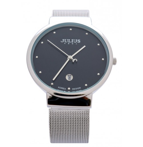 Đồng hồ nam Julius Hàn Quốc dây thép JA-426 JU1052 (bạc mặt đen)