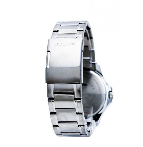 Đồng hồ nam Julius Hàn Quốc dây thép không gỉ JAH-036 JU1235 (bạc mặt đen)