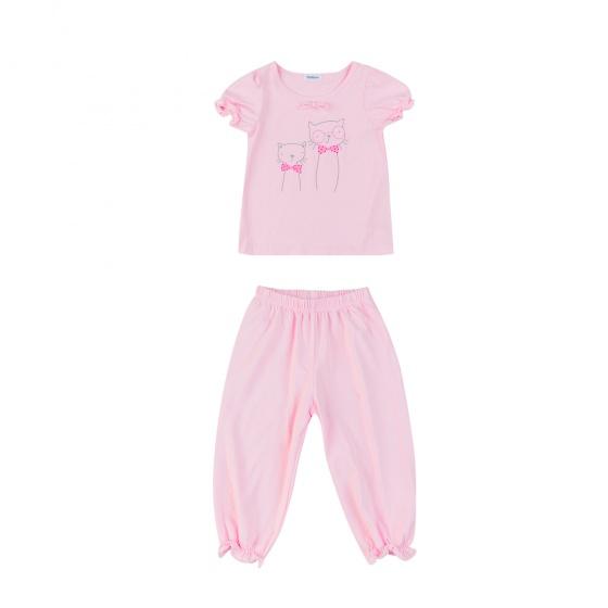 Set đồ bộ mặc nhà (tay ngắn) cotton cho bé gái - Tiniboo (Hồng)