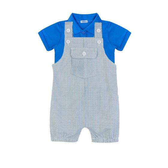 Set áo polo tay ngắn (Xanh dương) và quần short sọc cho bé trai Tiniboo