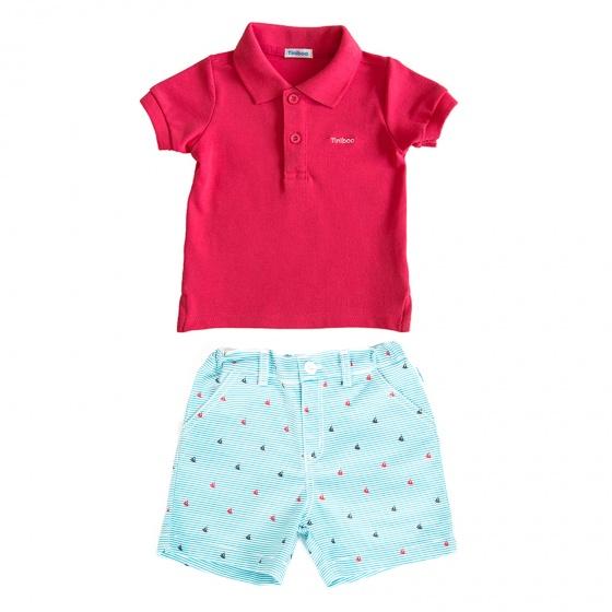 Set áo polo tay ngắn (Đỏ) và quần short họa tiết cho bé trai Tiniboo