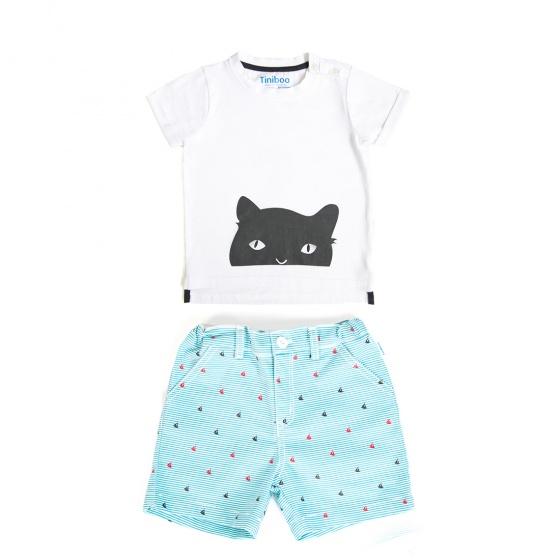 Set áo thun We love cat và quần short hoạ tiết Tiniboo