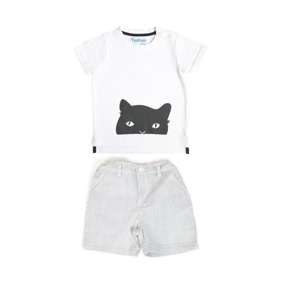 Set áo thun We love cat và quần short kẻ sọc Tiniboo