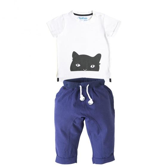 Set áo thun We love cat và quần dài gắn chuông xanh đậm Tiniboo