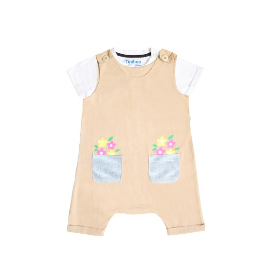 Set áo thun We love cat và yếm 2 túi in hoạ tiết hoa Tiniboo