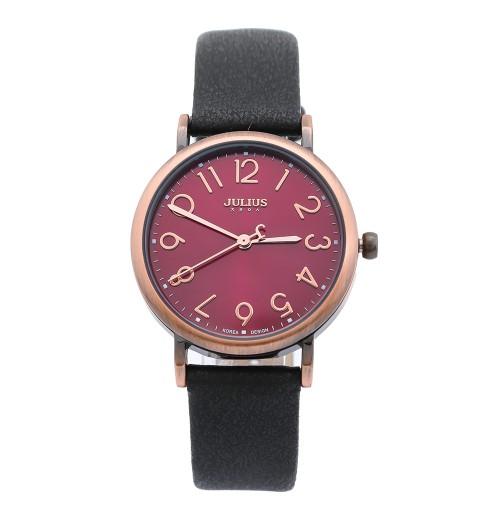 Đồng hồ nữ dây da Julius Hàn Quốc JA-911 JU1135 (đen hồng)