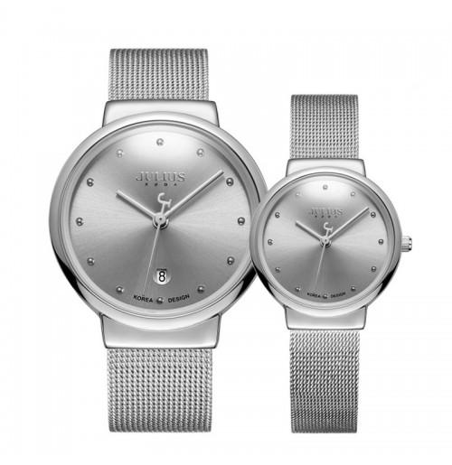 Đồng hồ cặp Julius Hàn Quốc dây thép JA-426D JU1052 (bạc)