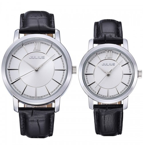 Đồng hồ cặp Julius Hàn Quốc JA-808 JU992 (đen mặt trắng)