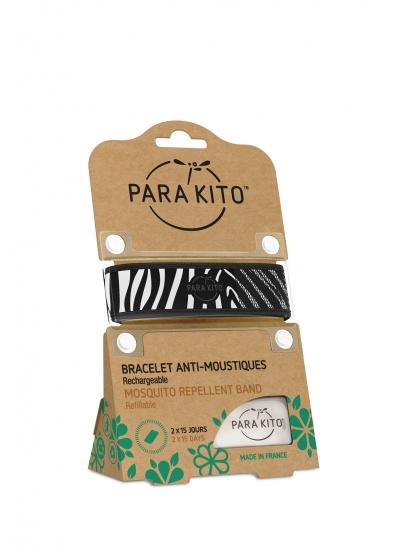 Viên chống muỗi PARA'KITO™ kèm vòng đeo tay bằng vải hoa văn ngựa vằn (2 viên chống muỗi)