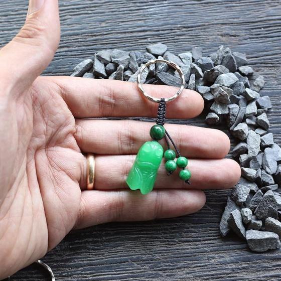 Móc khóa tỳ hưu đá cẩm thạch