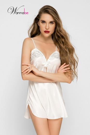 Đầm ngủ  phi lụa Wannabe DN355 xẻ ngực giọt nước cách điệu (Kem)