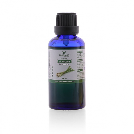 Combo tinh dầu sả chanh Lorganic (50ml) + tinh dầu sả chanh Lorganic treo xe hơi, tủ áo (10ml)