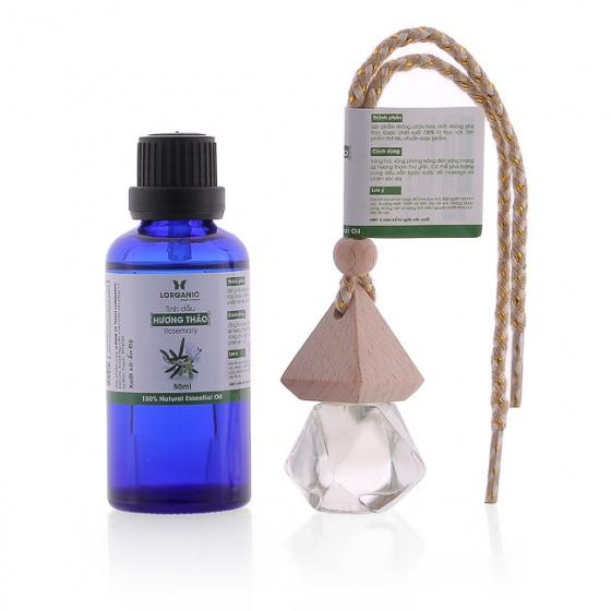 Combo tinh dầu hương thảo Lorganic (50ml) + tinh dầu hương thảo Lorganic treo xe hơi, tủ áo (10ml)