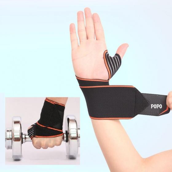 Đai quấn bảo vệ cổ tay xỏ ngón (1 cái) khi tập tạ, gym, bóng rổ POPO Collection (Đỏ)