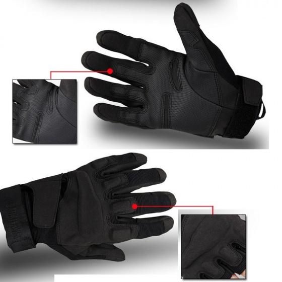 Găng tay vải thể thao BLACK_HAWK phượt, tập gym, găng tay quân sự đa năng chống trơn trượt POPO Collection (Đen - size L)