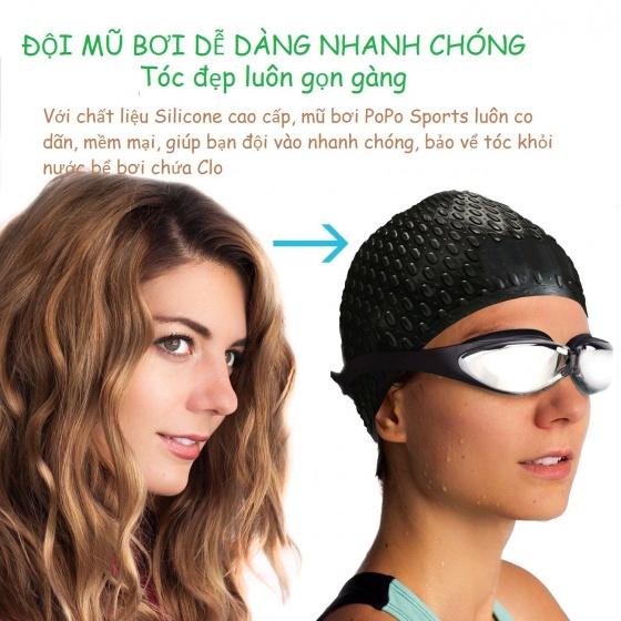 Bộ kính bơi, mũ bơi thoát nước, bịt tai kẹp mũi G300 POPO Collection (Đen)