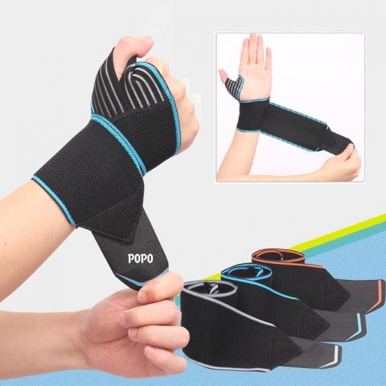 Đai quấn bảo vệ cổ tay xỏ ngón (1 cái) khi tập tạ, gym, bóng rổ POPO Collection (Xám Bạc)