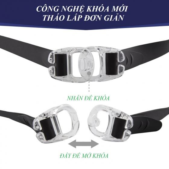 Kính bơi tầm nhìn rộng 180 độ, tráng gương, chống tia UV POPO Collection (Xám)