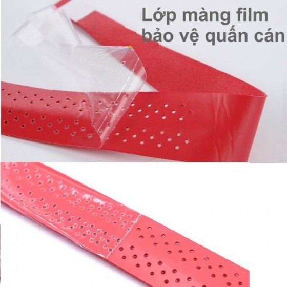 Cuốn cán vợt cầu lông có gân chống trơn - bộ 10 cái - thoáng khí thoát mồ hôi POPO Collection (Đen)