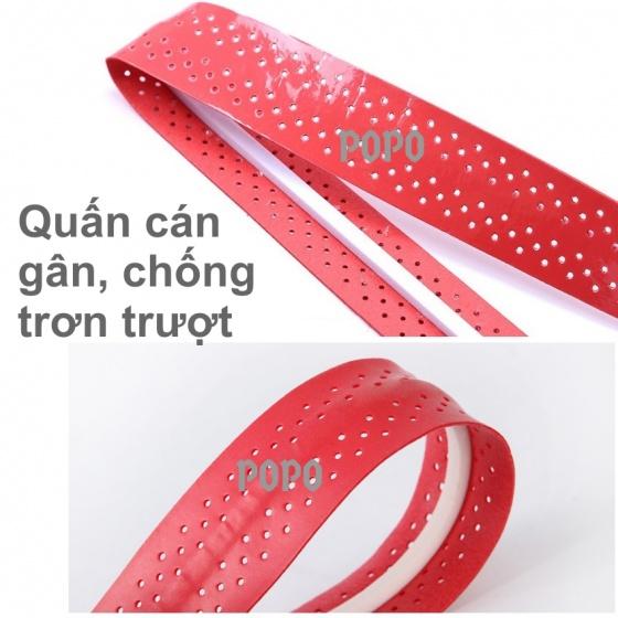 Cuốn cán vợt cầu lông có gân chống trơn - bộ 10 cái - thoáng khí thoát mồ hôi POPO Collection (Trắng)