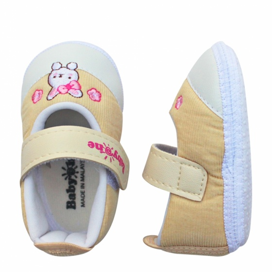 Giày tập đi bé gái BabyOne SS0824 - HELLO B&B - Size 17,18 (Màu kem)