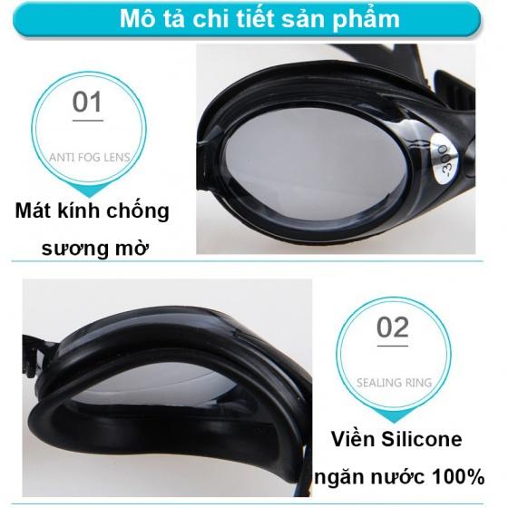 Kính bơi cận thế hệ mới, mắt trong độ cận từ 1.5 độ đến 8.0 độ chống UV, chống hấp hơi POPO Collection (Đen - Cận 3.5)