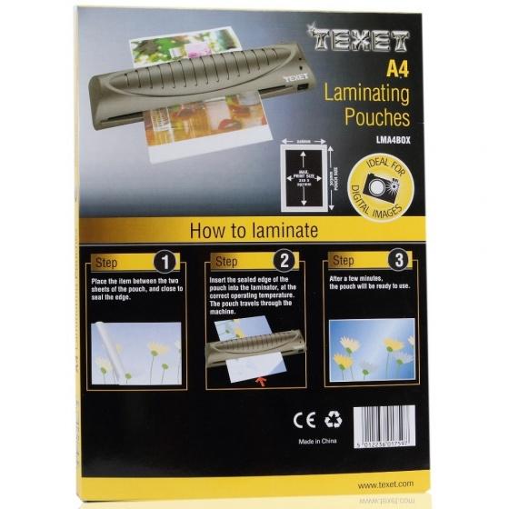 Hộp 100 tờ màng ép nhựa Texet LMA4BOX75