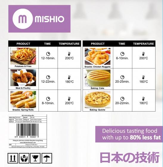 Nồi chiên không dầu Mishio 4L MK40 - tặng bộ dao 5 món