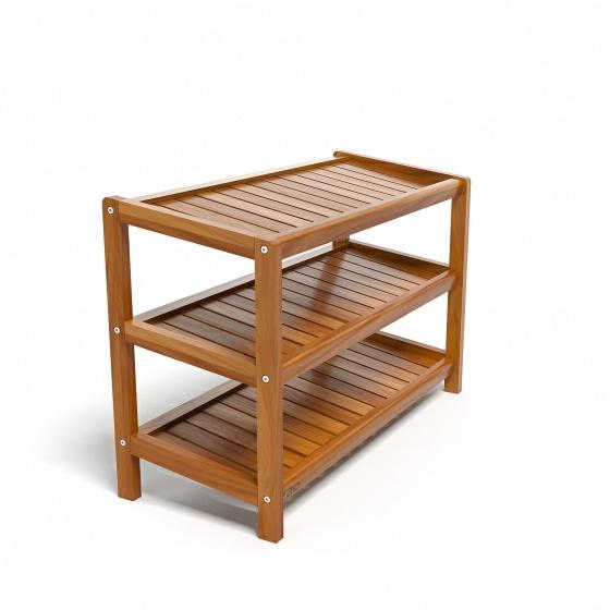 Kệ giày dép CZN373 gỗ cao su màu cánh gián (3 tầng 73 x 30 x 50 cm) - COZINO
