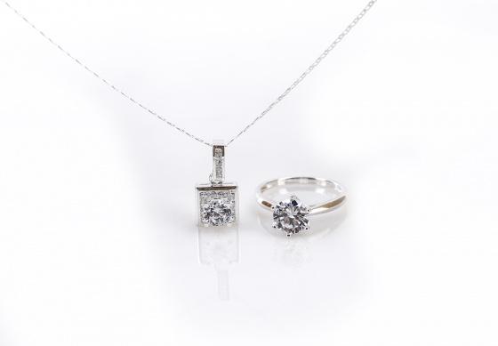 Opal - set mặt kèm dây và nhẫn bạc đính đá ross _T05