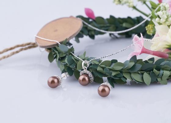 Opal - Bộ sản phẩm mặt kèm dây và hoa tai bạc đính ngọc ốc _T05