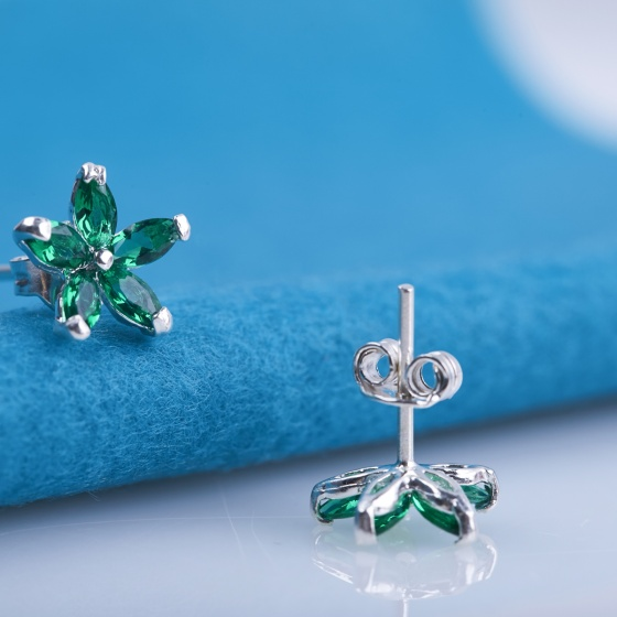 Opal - Hoa tai bạc đính đá ross xanh _T05