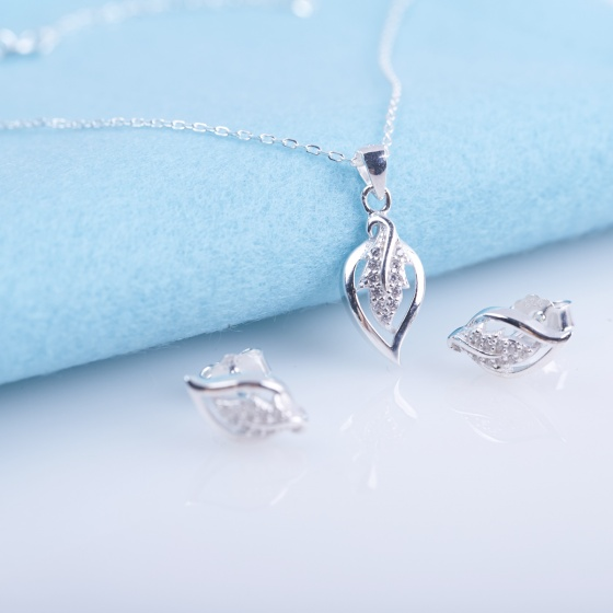Opal - Bộ trang sức bạc hình chiếc lá _T05