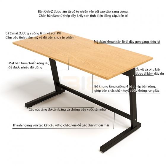 Bộ bàn Oak-Z vân gỗ sồi chân đen gấp gọn và ghế Eames chân gỗ đen