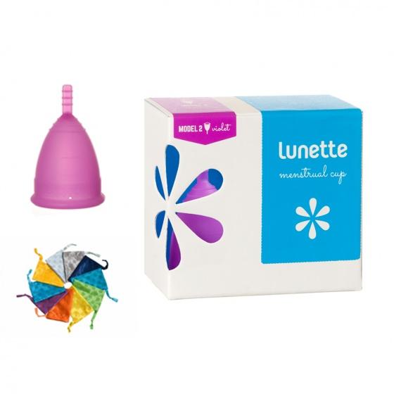 Bộ cốc nguyệt san Lunette, nhập khẩu chính hãng (màu tím, size 2 + nước rửa 100 ml)