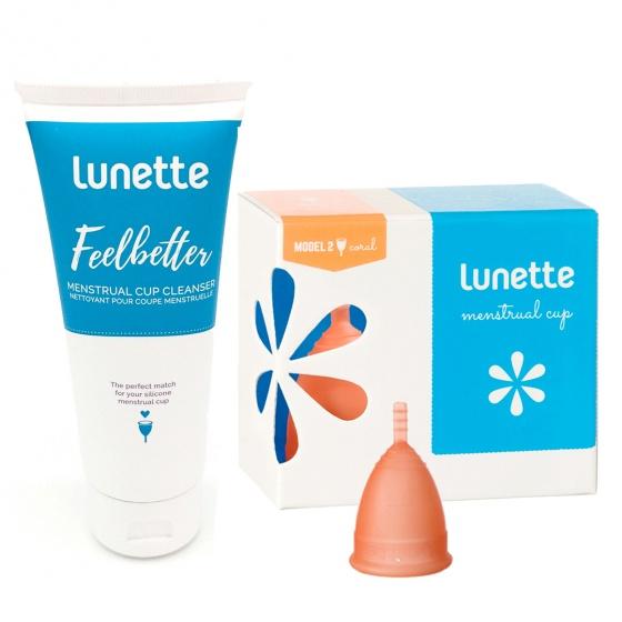 Bộ cốc nguyệt san Lunette, nhập khẩu chính hãng (màu cam size 2 + nước rửa 100 ml)